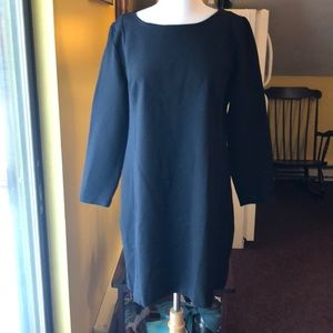 J. Crew L Black Ling Sleeve Sheath Dress